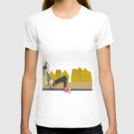 fashion hipster music illustration girl T-shirt