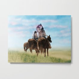 Cheyenne Warriors on the Great Plains - American Indians Metal Print