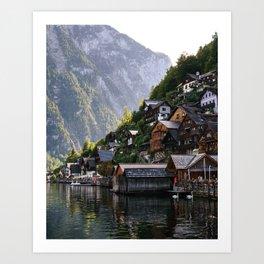Lakeside village Halstatt, Austria Art Print