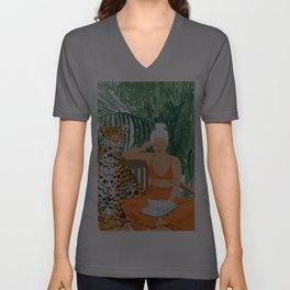 Jungle Vacay #painting #illustration Unisex V-Ausschnitt