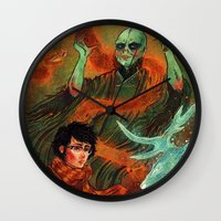 deathly hallows Wall Clocks featuring The Deathly Hallows by Angela Rizza