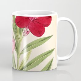 Nerium Oleander Vintage Scientific Floral Illustration Coffee Mug