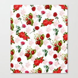 Roses and Strawberry Pattern Canvas Print