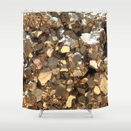 Golden Pyrite Mineral Shower Curtain