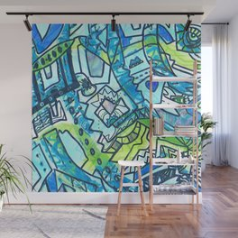 Spring time geometric abstract drawing Wall Mural