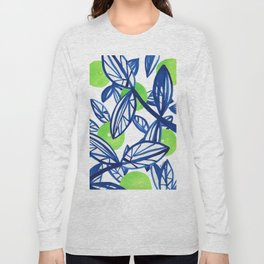 Blue and lime green abstract apple tree Long Sleeve T-shirt