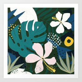 Tropical leaves into the jungle Art Print