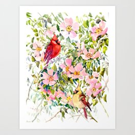 Cardinal Birds and Wild Rose Flowers Art Print