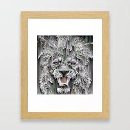 Lion in the night Framed Art Print