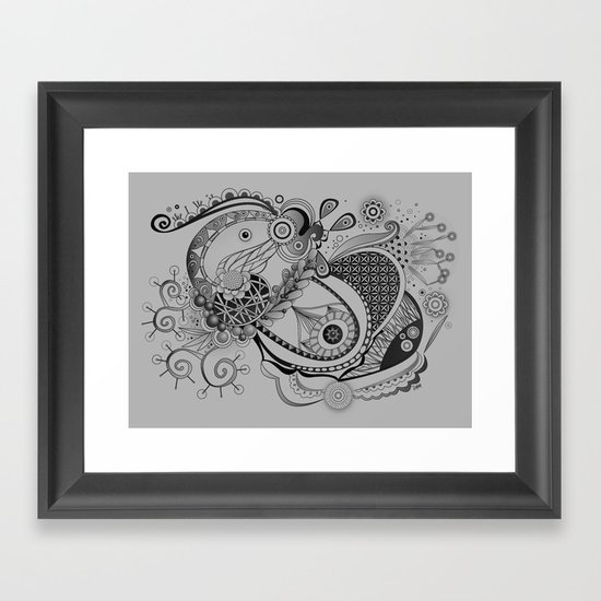 Ornate spring tangle, charcoal grey Framed Art Print