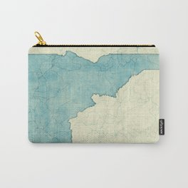 Idaho State Map Blue Vintage Carry-All Pouch
