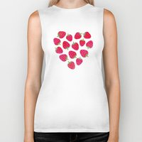 nutella Biker Tanks featuring STRAWBERRIES AND CHOCOLATE by Daisy Beatrice