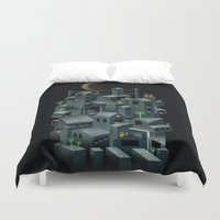 city Duvet Covers featuring The City by dan elijah g. fajardo