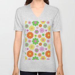 Vintage Daisy Crazy Floral Unisex V-Neck