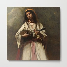 """Jean-Baptiste-Camille Corot """"Gypsy Girl with Mandolin"""" Metal Print"""
