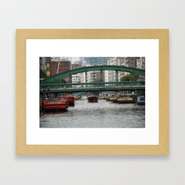 Bridge and Canal, Tokyo, Japan Framed Art Print