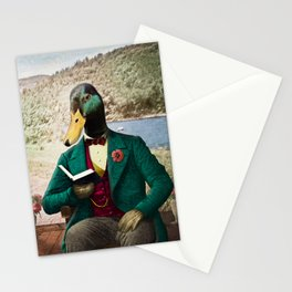 Monsieur Mallard Reading an Improving Book Stationery Cards