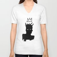 basquiat V-neck T-shirts featuring KING BASQUIAT by Lucas Schievenin