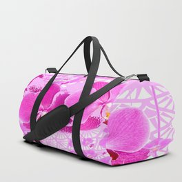CERISE PINK ORCHID FLOWERS  WHITE PATTERN ABSTRACT Duffle Bag