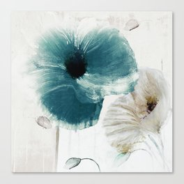 Teal Poppies Canvas Print