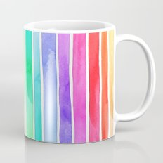 Bright Rainbow Colored Watercolor Paint Stripes Coffee Mug