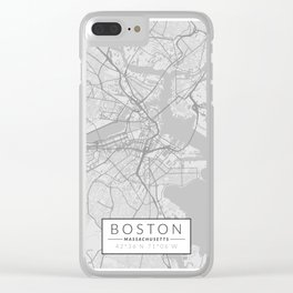 Boston Map - Black and White (Light) Clear iPhone Case