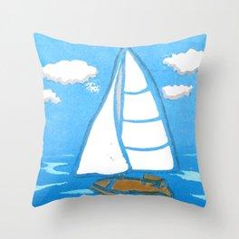 Sailboat Printmaking Art Throw Pillow