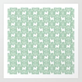 Chihuahua long haired mint and white floral silhouette pattern dog breed art Art Print