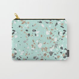 Glitter and Grit Marble Mint Green Carry-All Pouch