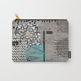 Grey Teal Abstract Art  Carry-All Pouch