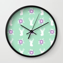 Deer head bouquet floral silhouette pattern minimal camping nursery baby mint and purple patterns Wall Clock