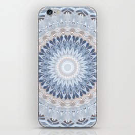 Serenity Mandala in Blue, Ivory and White on Textured Background iPhone Skin