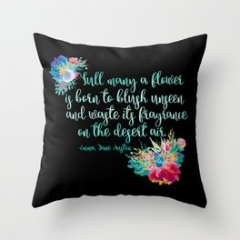 Jane Austen Quote - Flowers on Black Throw Pillow