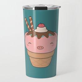 Kawaii Cute Pig Ice Cream Cone Travel Mug