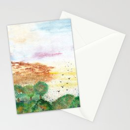 Let's Fly Away Watercolor Painting Stationery Cards