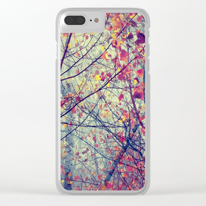 trees misty morning Clear iPhone Case