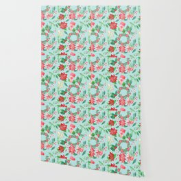 Merry Christmas Pattern (Blue Background) Wallpaper