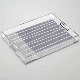 Mid century modern textured gray stripes Acrylic Tray