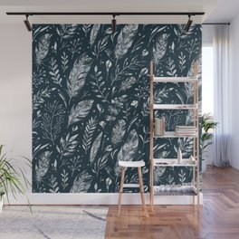 Feathers And Leaves Abstract Pattern Black And White Wall Mural