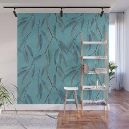 Eucalyptus leaves on sky blue Wall Mural