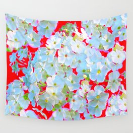 BLUE TINGED WHITE PHLOX FLOWERS RED Wall Tapestry