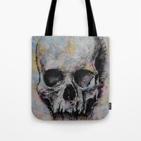 medieval Tote Bags featuring Medieval Skull by Michael Creese