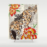 snow leopard Shower Curtains featuring Snow Leopard in Summer (leopard with portulaca) by Janin Wise