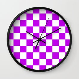 Cheerful Purple Checkerboard Pattern Wall Clock