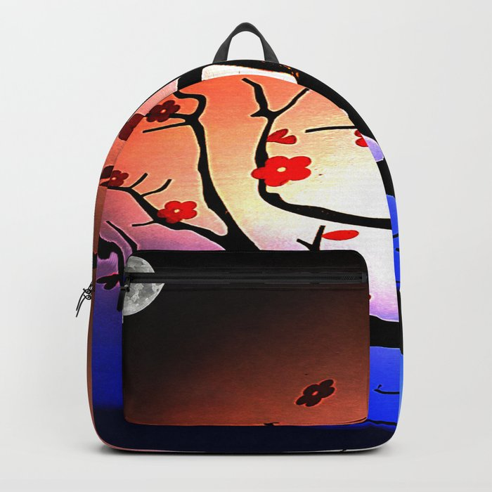 Japanese Maple Under Night Sky With Moon Backpack
