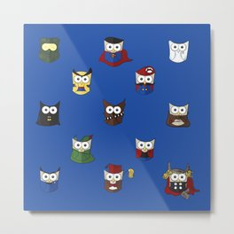Nerd Boy (Owls) - Blue Metal Print