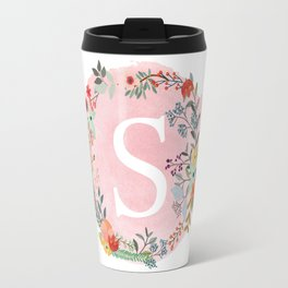 Flower Wreath with Personalized Monogram Initial Letter S on Pink Watercolor Paper Texture Artwork Travel Mug