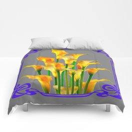 PURPLE-GREY ART NOUVEAU GOLDEN CALLA LILIES Comforters