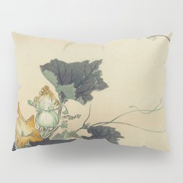 Japanese Woodcut: Dragonfly and Pumpkin Blossoms Pillow Sham