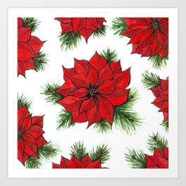 Poinsettia and fir branches pattern Art Print